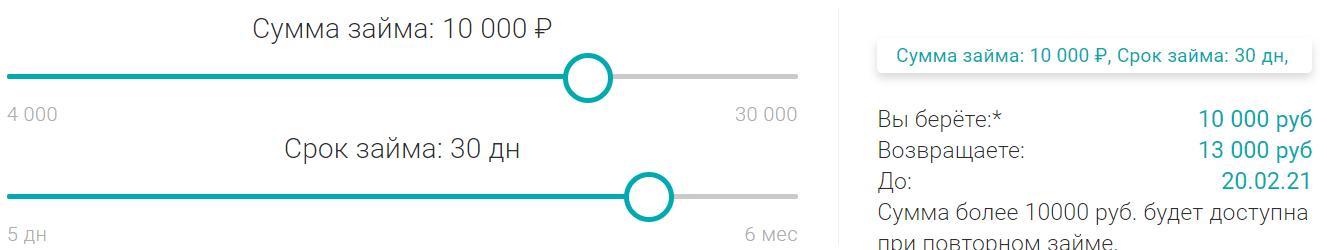 Пример расчета по займу Womoney на 10000 рублей, сроком на 1 месяц