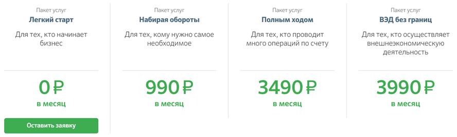 Стоимость всех тарифов РКО от СберБанка