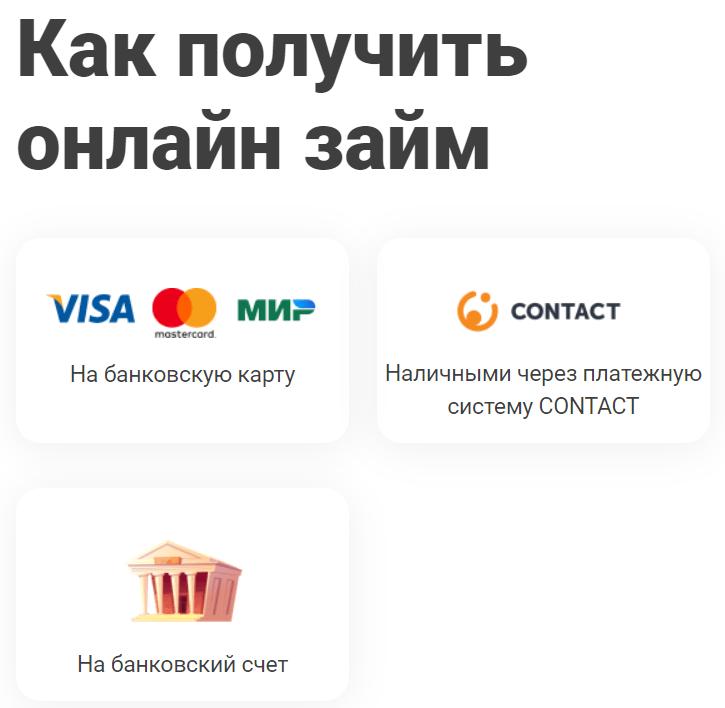 Три варианта получения перевода займов у МФО Ракета Деньги